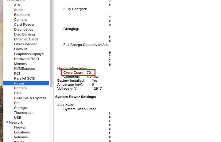 MacBook battery Health Information